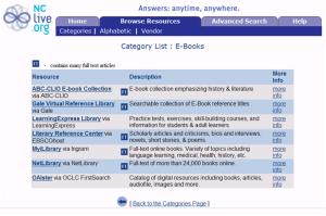 NCLIVE e-books