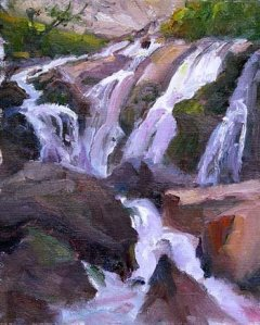 Painting of Lower Cullsaja Falls by NC artist Scott Boyle