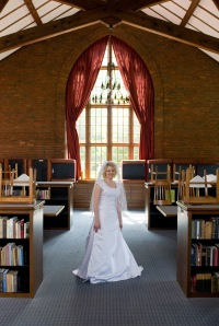 Ellen from Macon County Public Library exemplifying the library wedding theme.