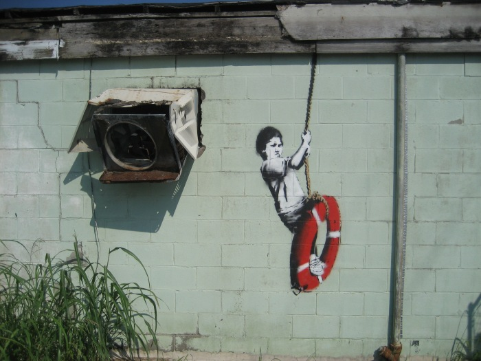 A Banksy piece in New Orleans.