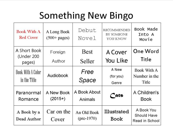 random book bingo card