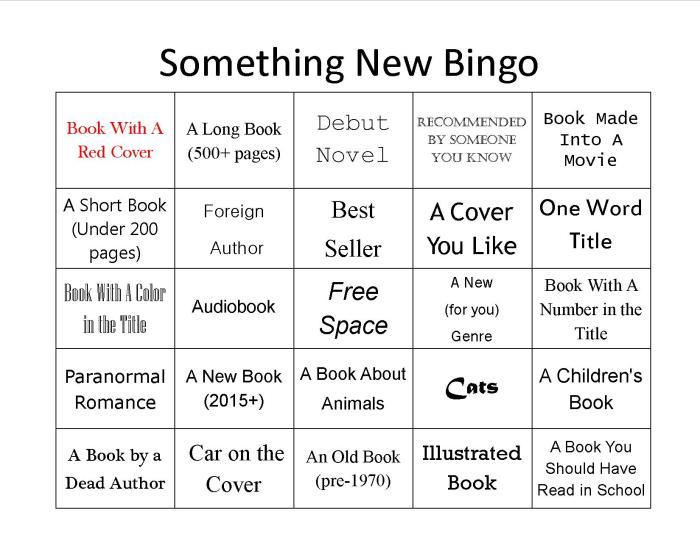 random book bingo card