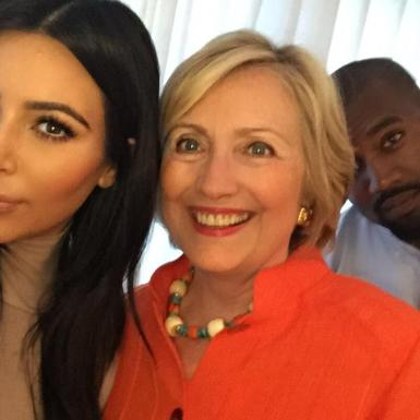 Democratic Party Presidential Candidate Hillary Clinton with Kim Kardashian, Kanye West