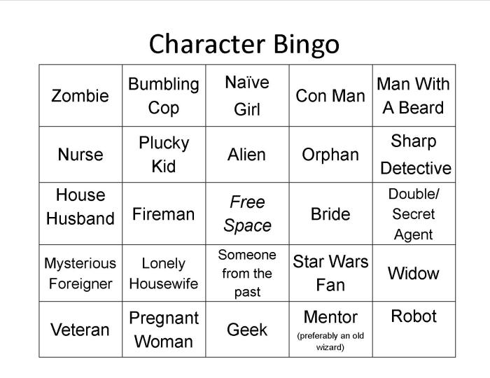 This is a graphic of Selective Character Bingo Template
