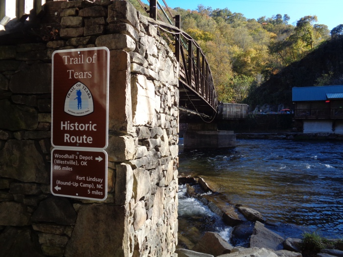Trail of Tears sign at NOC pedestrian bridge